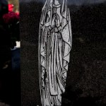 Our Lady feature on headstone