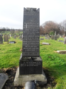 Black granite headstone, John McKenna