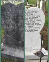 A headstone before and after it was cleaned by Sarsfield Memorials craftsmen