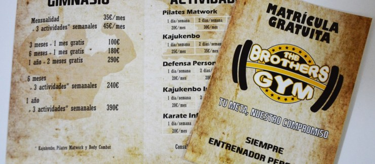 Diseño de flyers para The Brothers Gym en El Campello
