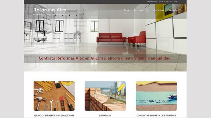 Diseño web de reformas Alex Campello. Documentación fotográfica y redacción SEO