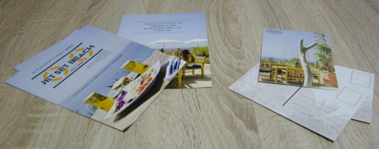 diseño de postales y fotografía corporativa para Jetset Beach en El Campello