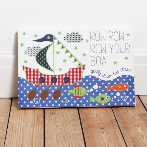 Row Row Row your boat LED and glow in the dark canvas