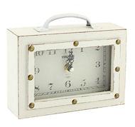 Vintage suitcase clock cream wood 17cm
