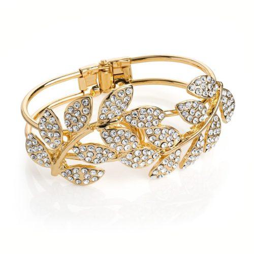 Gold coloured crystal leaf design hinge bangle ba30969