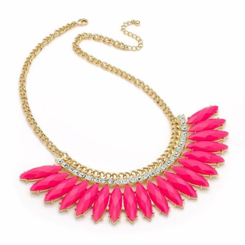 Pink neon beaded gold coloured chain necklace and crystal detail