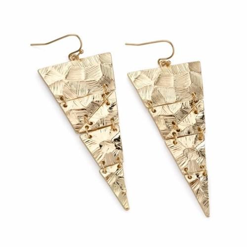Gold coloured hammer effect design triangular drop earrings