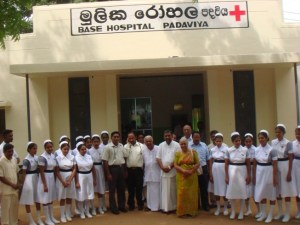 Dr. AT Ariyaratne with the staff of Padaviya Hospital
