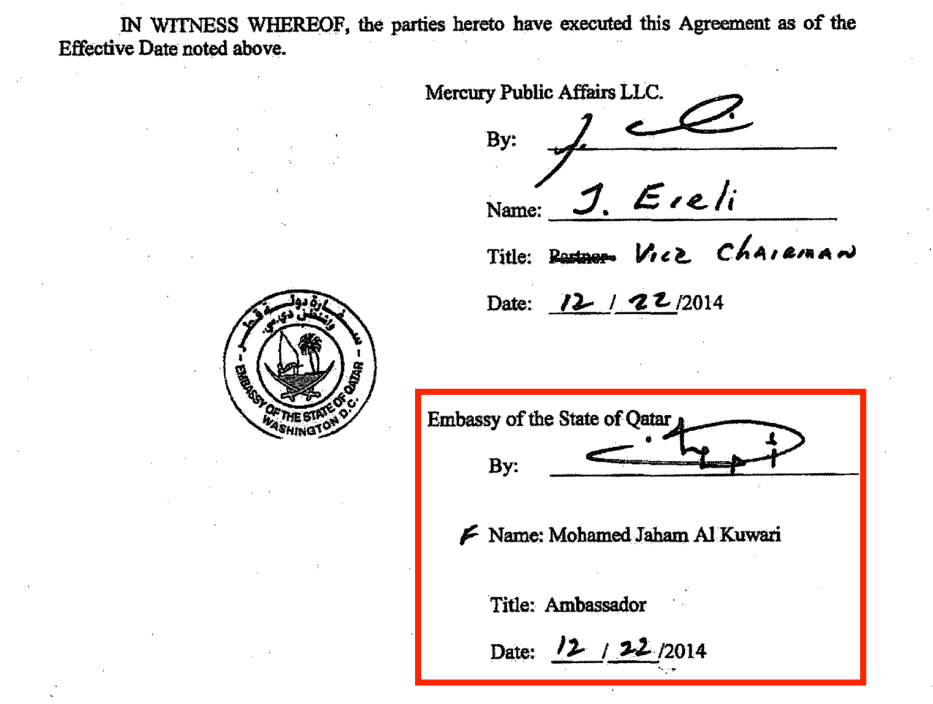 From the Qatari lobby's contract with Mercury Public Affairs. The photo shows the signature of Mohammed Jaham Al-Kuwari, the Qatari ambassador to the US. Source: US Department of Justice website [sasapost.com]