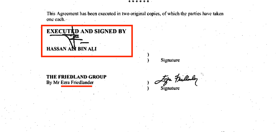 Part of Hassan Ali Bin Ali's contract with the Friedlander Group for political pressure, owned and managed by Ezra Friedlander, a US Orthodox Jew who fully supports Israel. The contract is dated 10 November, 2014. Source: US Department of Justice website [sasapost.com]