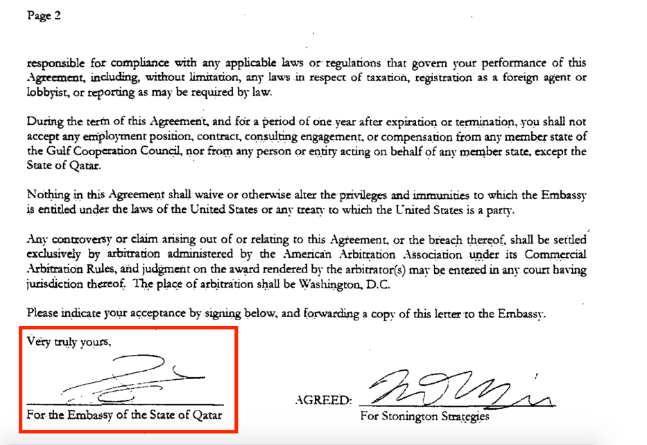 Part of the contract of the Qatari Embassy in the US with Stonington Strategies. The company works for Nicolas Muzin, a US pro-Israeli who has previously worked for the prominent Republican Senator Ted Cruz, a fierce supporter of Israel. Source: US Department of Justice website [sasapost.com]