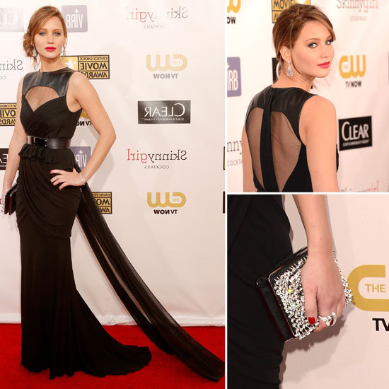 The winner for Best Actress for her role in The Silver Linings Playbook as Tiffany Maxwell wore Prabal Gurung gown, Jimmy Choo heels, Roger Vivier bag and Chopard jewels