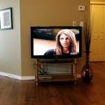 Flat-screen TV with a PVR, 86 channels including movie packages, stereo sound, and Blu Ray