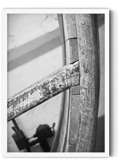PT00: 16th Century treadwheel photo wall art picture in black and white