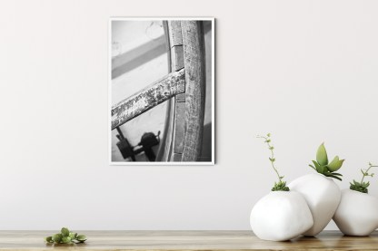 """PT00: 16th Century treadwheel photo wall art picture in black and white (11.7"""" x 16.5"""")"""