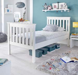 Grace High Foot End Wooden Bed White