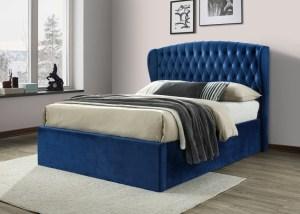 Warwick Velvet Ottoman Bed Blue