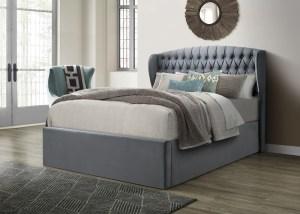Warwick Velvet Ottoman Bed Grey