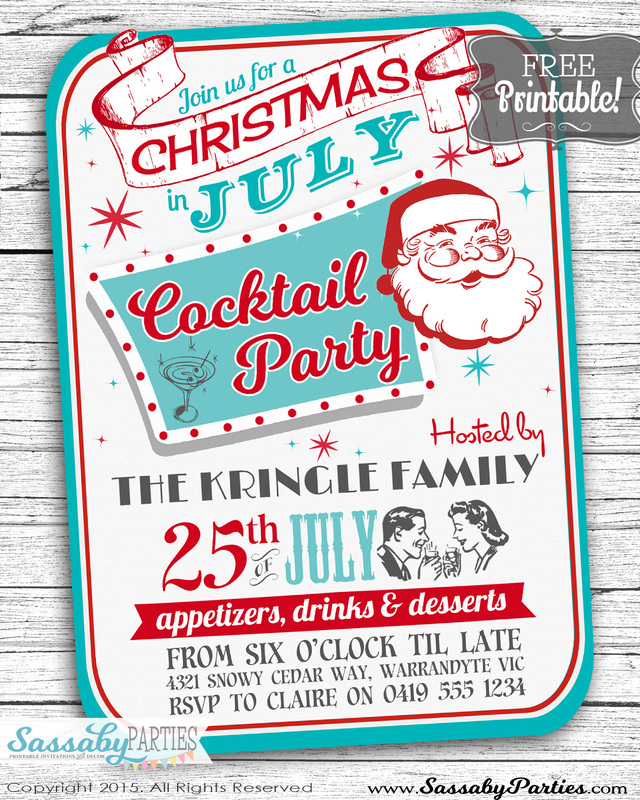 Christmas In July Invitation Free Printable