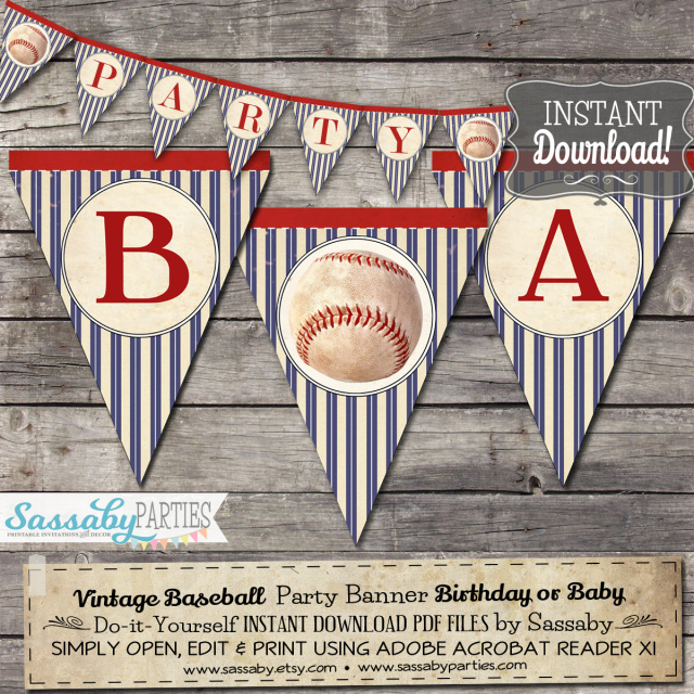 Vintage Baseball Baby Shower Party Invitations And Decorations