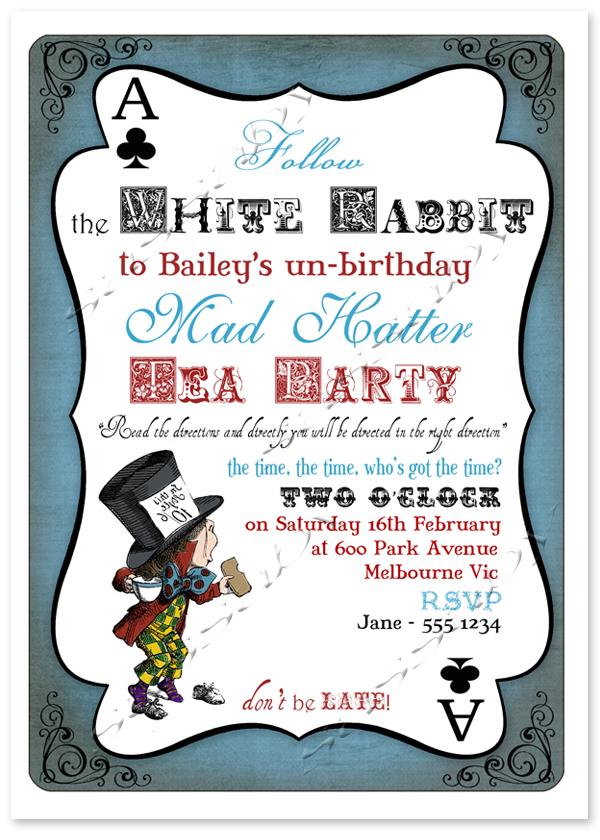 Tea Party Invitations Free Printable Mad Hatter Design