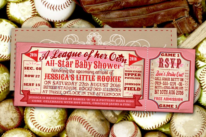 S Baseball Baby Shower Invitation