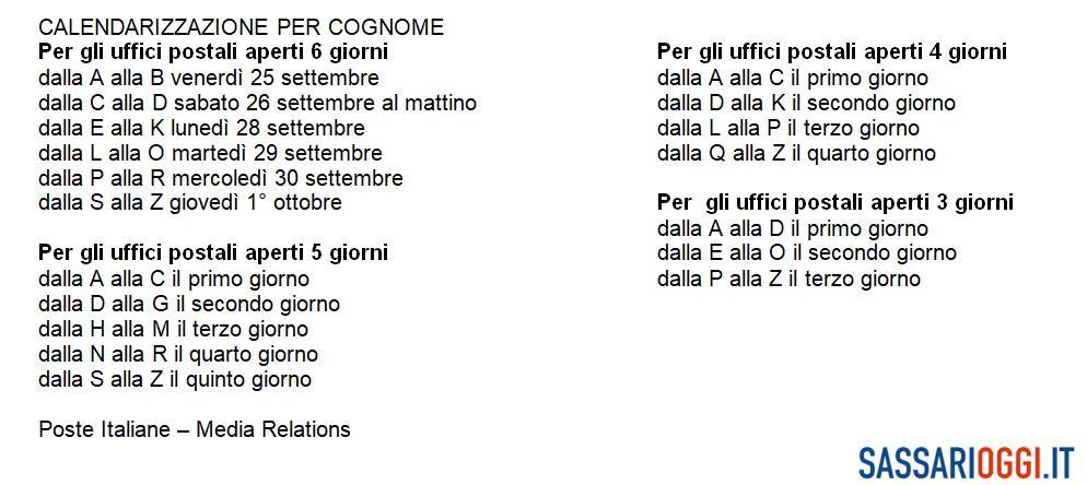 Ritiro della pensione di ottobre per cognome: le date a Sassari e in Gallura