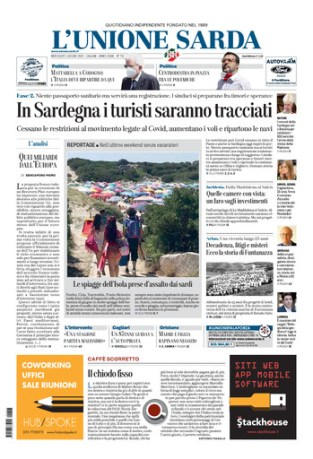 Prima Pagina Unione Sarda 3 giugno