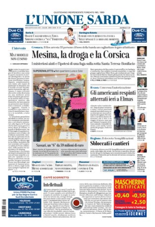 Prima pagina Unione Sarda 8 luglio