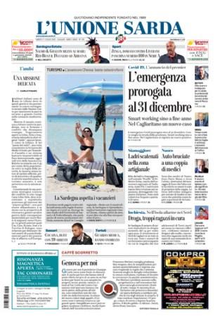 Prima pagina Unione Sarda 11 luglio