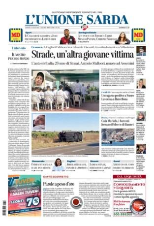 Prima pagina Unione Sarda 23 luglio