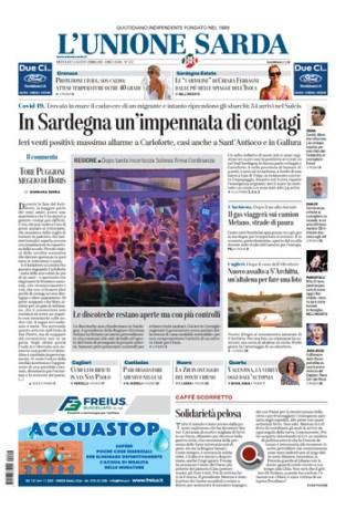 Prima pagina Unione Sarda 12 agosto