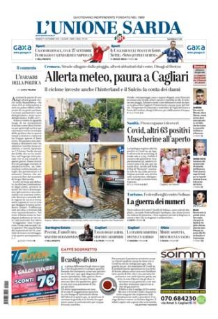 Prima pagina Unione Sarda 11 settembre