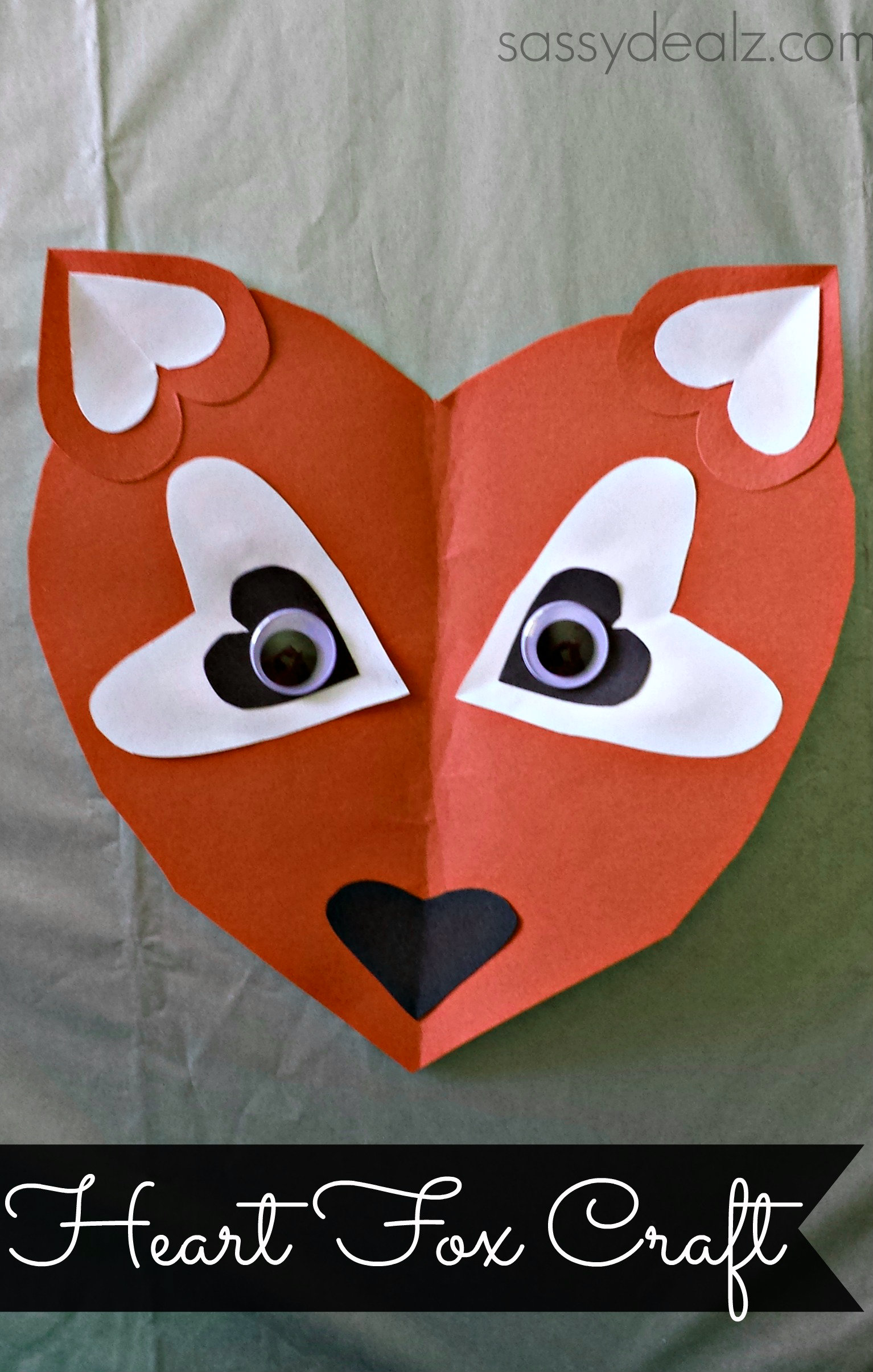 Paper Heart Fox Craft For Kids