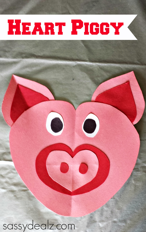 Heart Pig Craft For Kids
