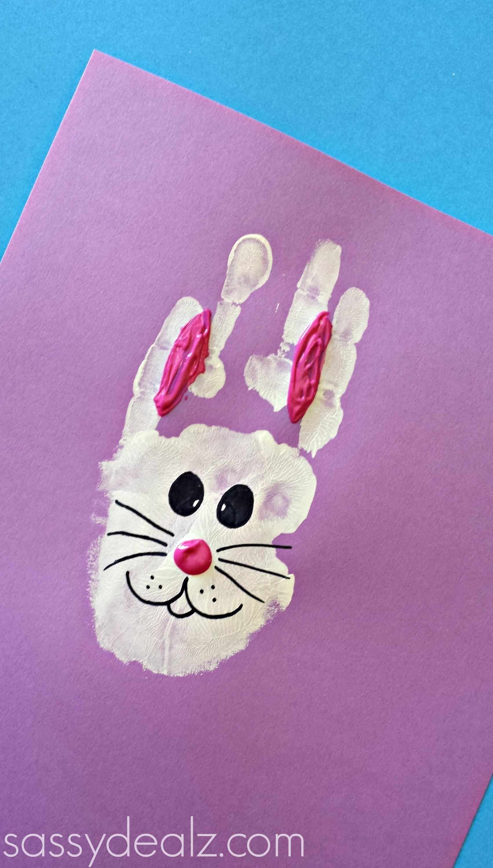 Bunny Rabbit Handprint Craft For Kids Easter Idea