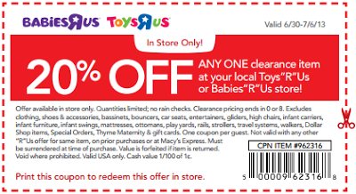 Toys R Us Babies R Us 20 Off One Clearance Item