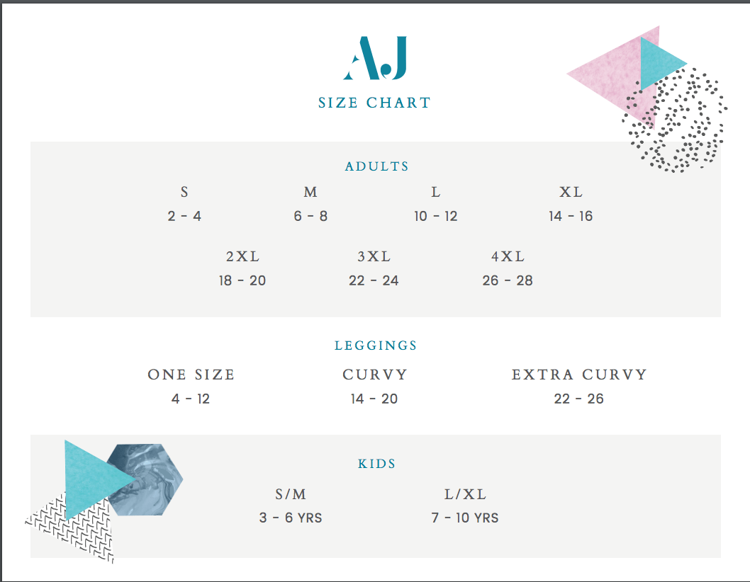 Amelia James Sizing Chart
