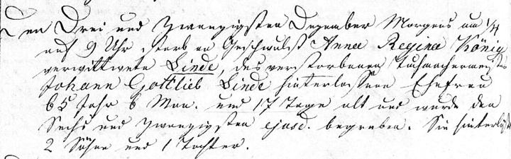 Anna Koenig Linde of Freienwalde, Pomerania