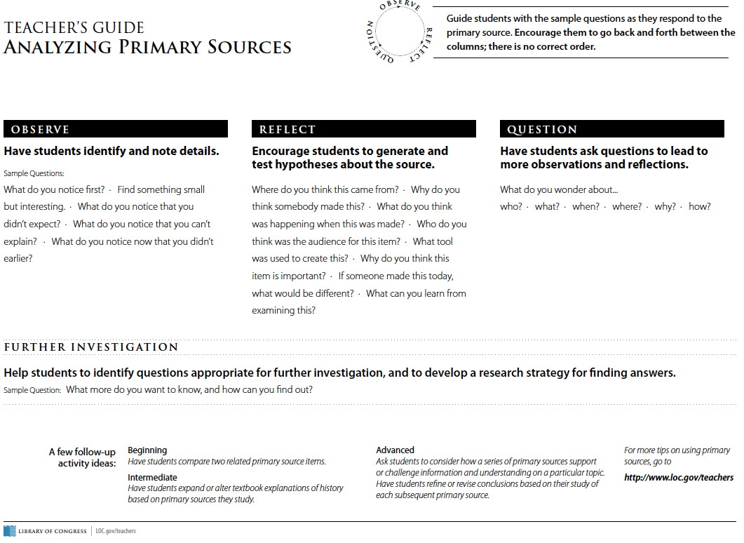 Primary Document Worksheet