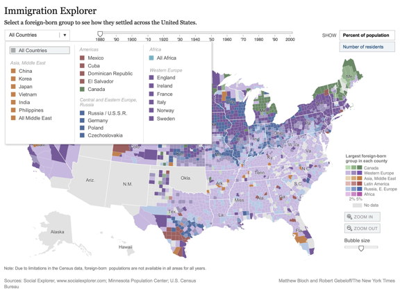 U.S. Immigration Interactive Map 1880-2000