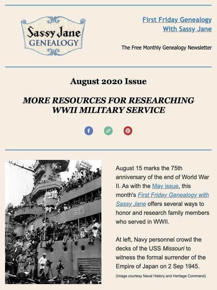 first friday genealogy newsletter sassy jane august 2020