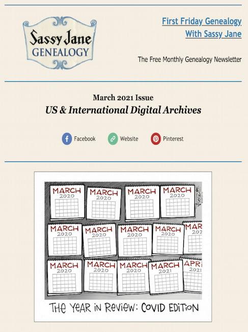 first friday genealogy newsletter sassy jane