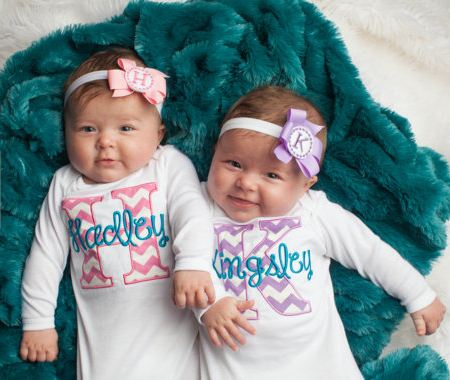 Twin Girls Take Home Outfit Chevron Baby Monogram Layette