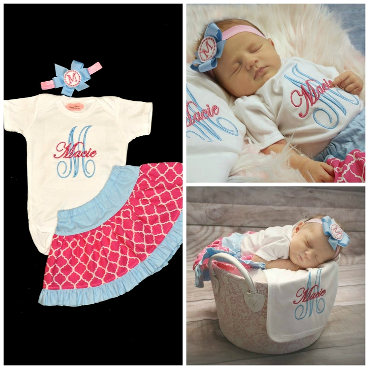 Personalized Baby Girl Clothes Pink And Blue Quatrefoil