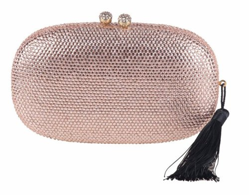Rose Gold handbags - Chicastic Rose Gold Evening Clutch With Tassel