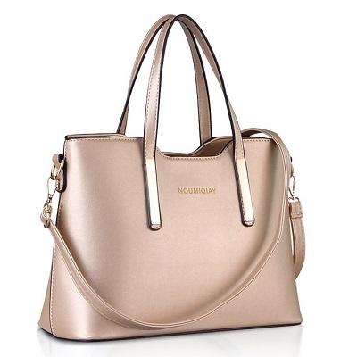 Rose Gold handbags - Cuckoo Fashion Belt Accent Tote Bag