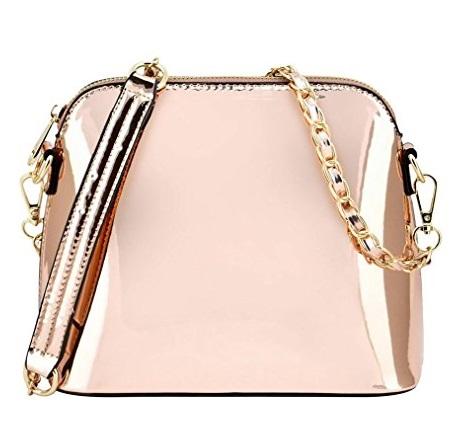 Vegan Rose Gold Metallic Handbag