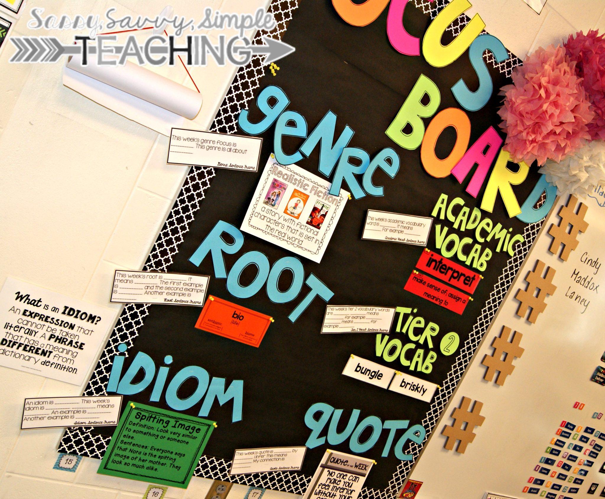 Focus Board For The ELA Classroom Sassy Savvy Simple Teaching