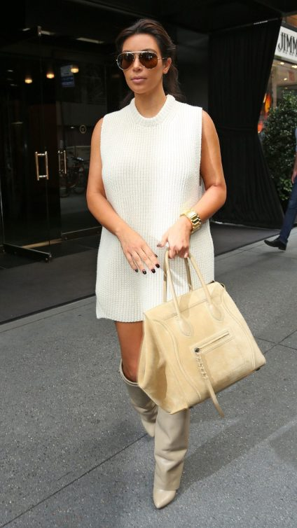Kim Kardashian out and about in NYC in a beige cardigan dress